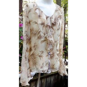 EUC Vintage Sioni Floral Silk Flutter Sleeve Top